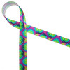 """We are all channelling Good Vibes Only with this fun retro ribbon recalling the groovy moments of the 60's! Printed on 5/8"""" white single face satin featuring tie dye colors of purple, pink, blue and green, this ribbon is perfect for your best throwback party!"""