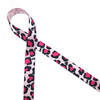 """Leopard print in hot pink and black on 5/8"""" light pink ribbon will add a splash of fun to party favors, gift wrap and craft projects!"""