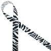 "Zebra stripes in black on 5/8"" white single face satin appeals to the wild side of life! Be sure to add this ribbon to baby shower gifts, craft projects and favors."