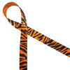 """Tiger stripes in black on 5/8"""" tangerine single face satin ribbon makes a will give any favor  or gift wrap a walk on the wild side!"""