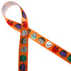 """Adorable little Halloween monster faces along with a werewolf float along this tone on tone orange background printed on 7/8"""" white single face satin. Be sure to add this fun ribbon to your Halloween collection!"""