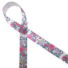"""Sugar Skulls decorated in pastel colors of pink, lavender, yellow and green with purple thorny vines and pink roses on 5/8"""" white single face satin is a beautiful ribbon to commemorate dia de los Muertos."""