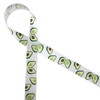 "Avocados in shades of green with a brown pit dance along our 5/8"" white single face satin ribbon. This is a fun ribbon perfect for any foodie! Tie this fun ribbon on gift baskets or party favors for a fun theme!"