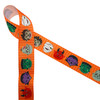 "Monsters ribbon printed with an orange background on 7/8"" white grosgrain ribbon, 10 yards"