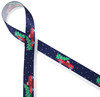 """A vintage red pick up truck delivering the Christmas tree on a snowy night brings back memories of an old fashioned Christmas. Printed on 7/8"""" white single face satin, this ribbon is ideal for gifts, decorating and crafting."""