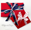 """Pair our 7/8"""" satin red truck with the 5/8"""" satin snow flake ribbon to create some beautiful Winter themed holiday gifts!"""