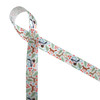 """Woodland animals on 7/8"""" white satin ribbon feature raccoon, deer, fox, owls and hedgehogs scattered among leafy branches, flowers and mushrooms!"""