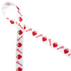 "Red heart shaped locks alternate with red keys printed on 5/8"" white single face satin ribbon for a fun Valentine theme. This is a great ribbon for favors, gifts and Valentine decor!"