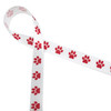 """Red paw prints in a row printed on 5/8"""" white single face satin ribbon is the cutest little ribbon for pet gifts and favors for any occasion, but especially for Valentine's Day and Christmas!"""