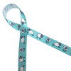 """Sheep in black and white dancing along  light blue background printed on 5/8"""" white single face satin ribbon is a perfect ribbon for Easter and Baby showers!"""