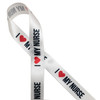 """I ( Heart) my Nurse in black block lettering with a red heart printed on 5/8"""" white single face satin ribbon is the perfect way to express your gratitude for your favorite medical hero!"""