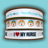 """I ( Heart) my Nurse ribbon in black lettering with red heart printed on 5/8"""" white single face satin, 10 Yards"""