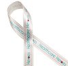 """Healthcare heroes in light blue with a red heart printed on 5/8"""" white single face satin ribbon is the ideal ribbon to celebrate your favorite healthcare professional!"""