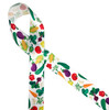 """Colorful veggies include tomatoes, eggplant, carrots, corn and peppers printed on 5/8"""" white single face satin ribbon is a fun ribbon for your  favorite grocer, chef and food delivery person. All our ribbon is designed and printed in the USA"""