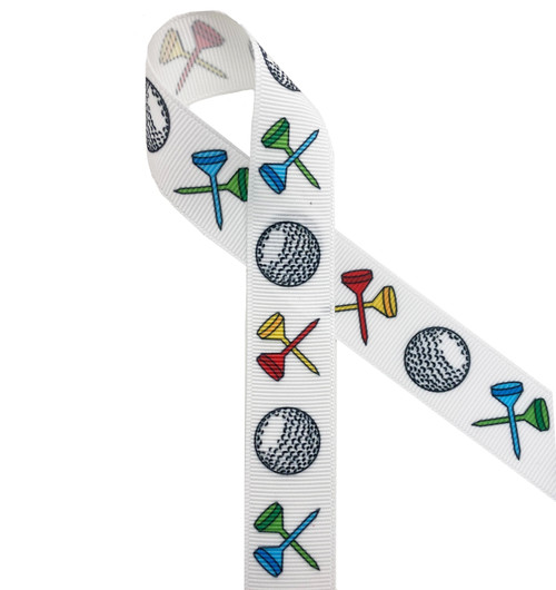 """Golf balls and tees of red, yellow, blue and green printed on 7/8""""grosgrain ribbon is a fun ribbon for golf themed crafts, sewing projects, hair bows and more! Be sure to have this in our collection for the golf lover in your life."""