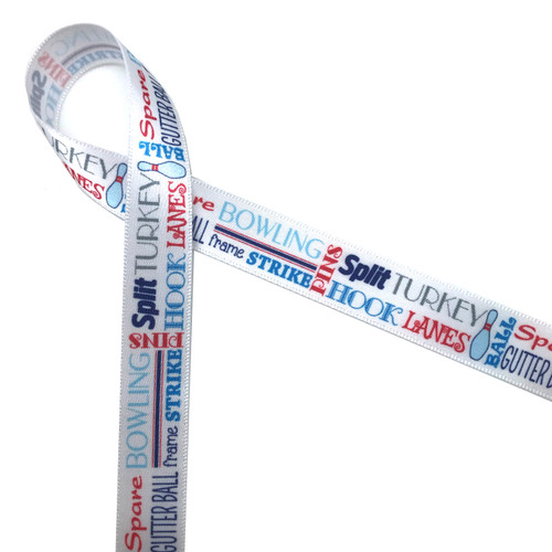 """Bowling word block ribbon features all the terms associated with the sport printed in blue, red and gray on 5/8"""" white single face satin ribbon on 10 yard spools."""