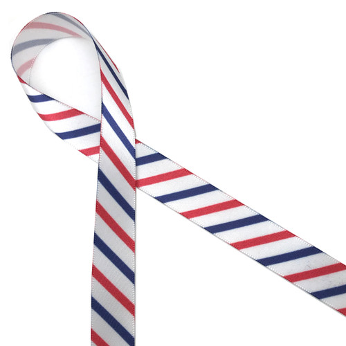 """Stripes of red, white and blue printed on 5/8"""" white single face satin ribbon is an American tradition for celebrating our patriotic holidays."""