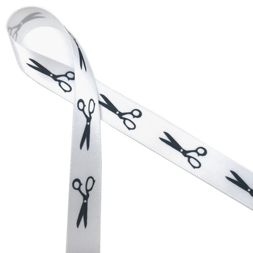 "Scissors in black silhouette printed on 5/8"" white single face satin ribbon is an ideal way to tie gifts and favors for your hair stylists or sewing skilled friends!"