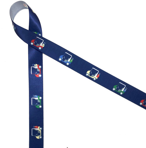 "Golf carts of blue, yellow, red and green run along a navy blue background printed on 7/8"" white single face satin ribbon."