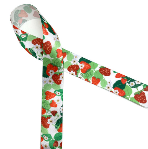 """Strawberries with their flowers and leaves printed on 7/8""""white single face satin ribbon is the perfect ribbon for tying all those gifts of strawberry jam once you start picking those June berries!"""
