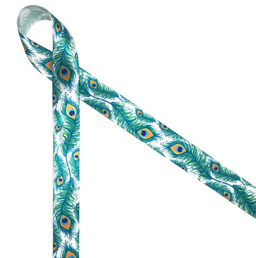 "Peacock feathers printed on 7/8"" white single face satin ribbon is a fun ribbon for tying special packages for all your peacock loving friends!"