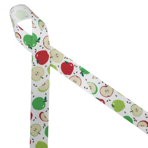 "Green and red apples with brown seeds and apple slices printed on 7/8"" white grosgrain ribbon is such a fun ribbon for Fall crafting! A great choice for hair bows, scrap booking and more! Designed and printed in the USA"