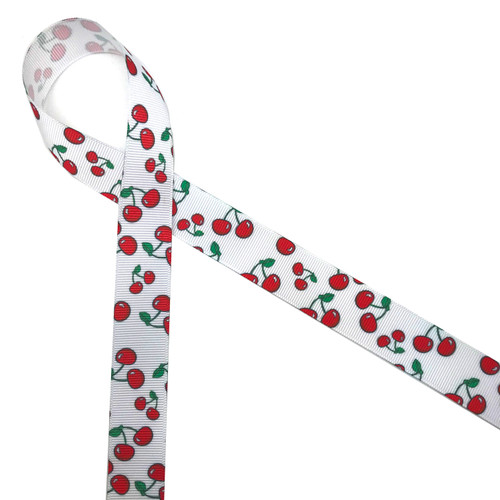 "Life is just a bowl of cherries and ours are the sweetest ones! Our cherries with their green leaves are printed on 7/8""  grosgrain ribbon and are ideal for hair bows, cherry themed Summer events, gifts and craft projects! All our ribbon is designed and printed in the USA"