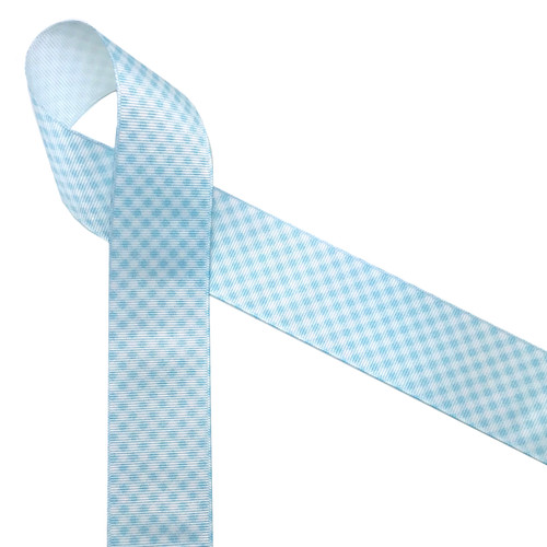 "Light baby blue  and white gingham check printed on 1.5"" white grosgrain ribbon is a classic design perfect for so many craft projects, events and gifts! It's ideal for baby boy shower and reveal parties too!  Be sure to have this ribbon on hand for all your creative moments! Designed and printed in the USA"