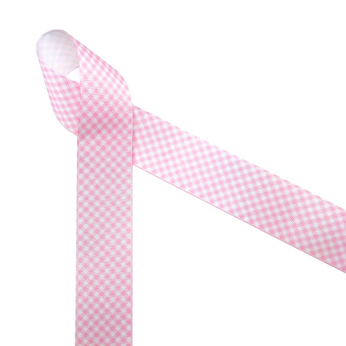 "Light baby pink  and white gingham check printed on 1.5"" white grosgrain ribbon is a classic design perfect for so many craft projects, events and gifts! It's ideal for baby girl shower and reveal parties too!  Be sure to have this ribbon on hand for all your creative moments! Designed and printed in the USA"