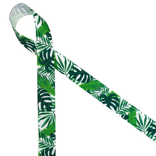 "Palm fronds printed on 7/8"" white grosgrain ribbon is perfect for all your tropical themed parties, events and soirees all year round. Be sure to have this ribbon on hand for all your creative crafting projects. Our ribbon is designed and printed in the USA"