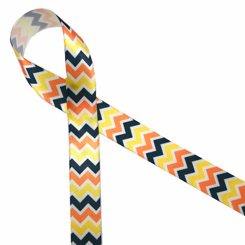 """Fall Chevron ribbon in yellow, orange, and yellow printed on 5/8"""" white single face satin is the perfect ribbon for your Fall gift and decor. Be sure to have this ribbon on hand for all your Fall crafts too!"""