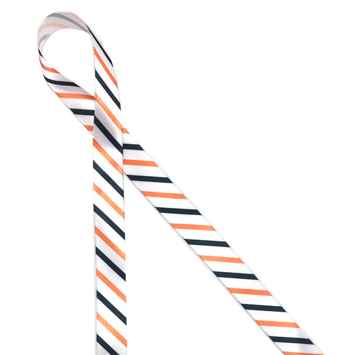 """Halloween stripes of orange, black and white printed on 5/8"""" white single face satin is the ideal ribbon for adorning all your Halloween treat bags for those special little goblins! Our ribbon is designed and printed in the USA"""