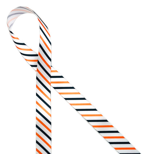 """Halloween stripes of orange, black and white printed on 7/8"""" white single face satin is the ideal ribbon for adorning all your Halloween treat bags for those special little goblins! Our ribbon is designed and printed in the USA"""