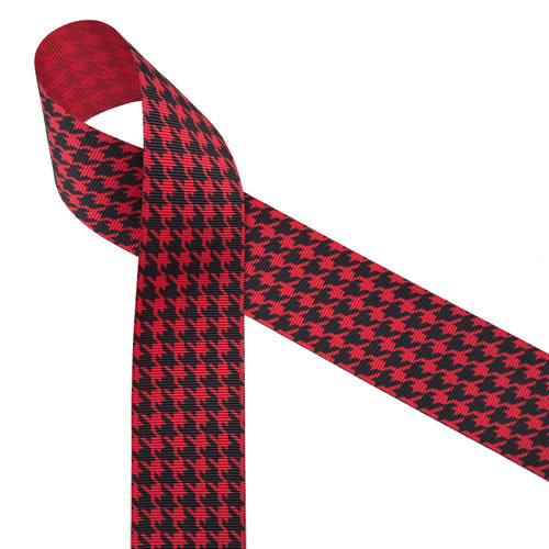 "Houndstooth check in black printed on 1.5"" red grosgrain ribbon is a classic print for Holidays and everyday use. This is an ideal ribbon for hair bows,  holiday gifts, wreath making, decorating and sewing projects! Our ribbon is designed and printed in the USA"