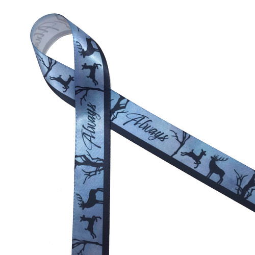 Our Harry Potter Always ribbon with doe, buck and tree in black silhouette on a blue background reflects the romantic story of Snape and Harry's mother Lily. This is the ideal ribbon for any Harry Potter themed wedding party or event! Our ribbon is designed and printed in the USA