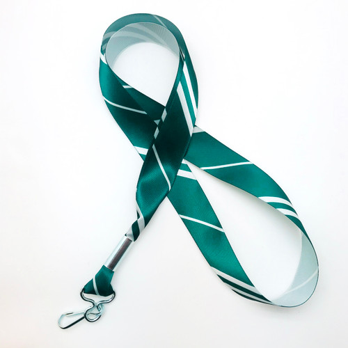 "Hogwarts Slytherin House ribbon lanyard in green and silver stripes printed on 7/8"" silver single face satin ribbon is a fun gift idea for all the Harry Potter fans on  your gift list. Perfect for events, parties and weddings too! All our products are designed, printed and assembled in the USA"