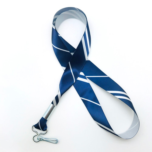 "Hogwarts Ravenclaw House ribbon lanyard in blue and silver stripes printed on 7/8"" silver single face satin ribbon is a fun gift idea for all the Harry Potter fans on  your gift list. Perfect for events, parties and weddings too! All our products are designed, printed and assembled in the USA"
