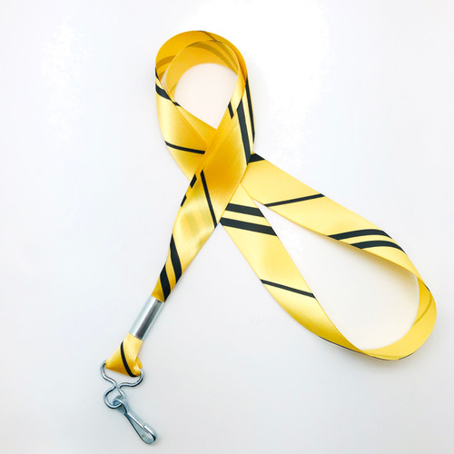 "Hogwarts Hufflepuff House ribbon lanyard in yellow and black  stripes printed on 7/8"" yellow single face satin ribbon is a fun gift idea for all the Harry Potter fans on  your gift list. Perfect for events, parties and weddings too! All our products are designed, printed and assembled in the USA"