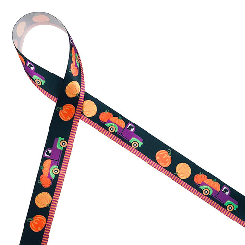 "Our little purple and green  pumpkin  Halloween pick up truck is driven by an adorable black Labrador Retriever along a dark street with pumpkins tumbling out the back printed on 7/8"" white single face satin ribbon. This is such a fun ribbon for all your Halloween gifts, wreaths and crafting fun!. Our ribbon is designed and printed in the USA"