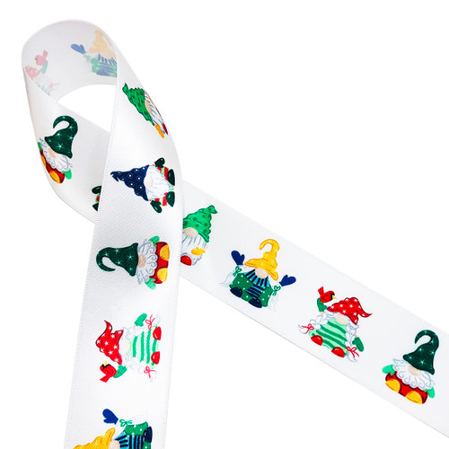 "Sweet little Christmas gnomes with adorable little hats and Christmas outfits printed on 1.5"" white single face satin ribbon is ideal for gift wrap, decor, treat bags, Christmas cookies and crafts. Our ribbon is designed and printed in the USA"