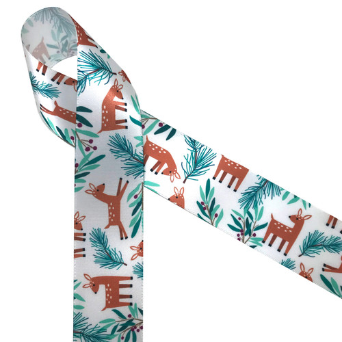 """Sweet little deer in camel brown with little white spots prance in a forest of laurel leaves and berries with soft pine branches printed on 1.5"""" white single face satin ribbon. This adorable little ribbon is perfect for Holiday gift wrap, Christmas wreaths, table decor and floral arrangements. Be sure to have this ribbon on hand for any Woodland themed project!"""