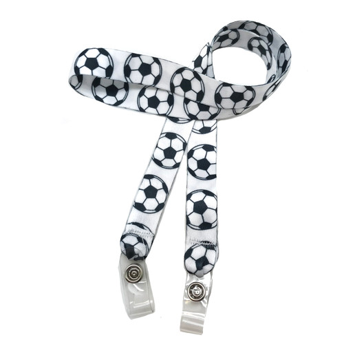 "24"" mask holder with soft plastic snap closures printed with a soccer ball design printed on both sides on  5/8"" Ultra Lanyard material are perfect for children and adults for keeping track of face masks at school, sports practice, lunch and break time."