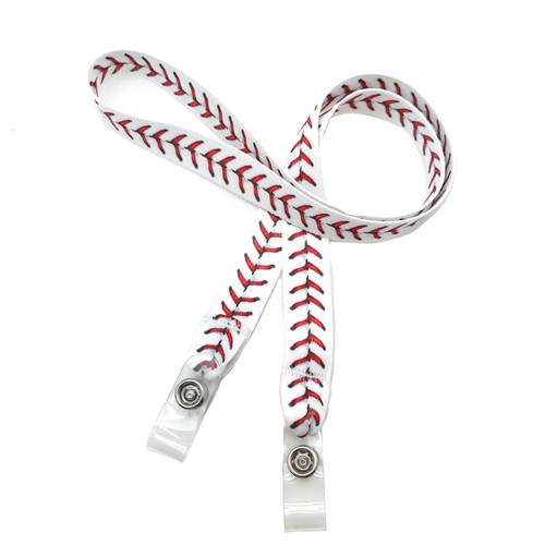 "24"" mask holder with soft plastic snap closures printed with a baseball stitch design printed on both sides on  5/8"" Ultra Lanyard material are perfect for children and adults for keeping track of face masks at school, sports practice, lunch and break time."