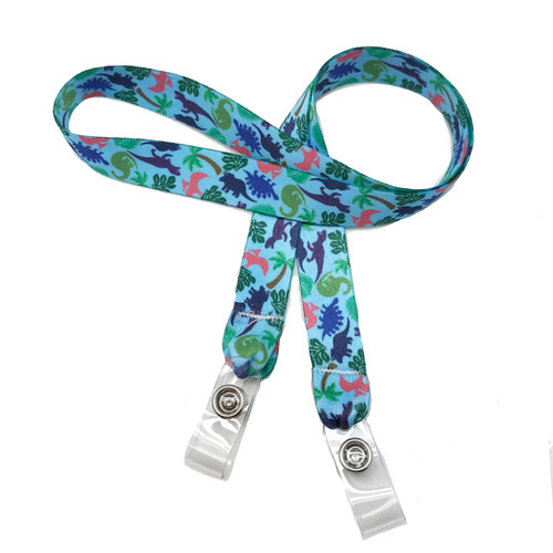 "24"" mask holder with soft plastic snap closures printed with our dinosaur design printed on both sides on  5/8"" Ultra Lanyard material are perfect for children and adults for keeping track of face masks at school, sports practice, lunch and break time."