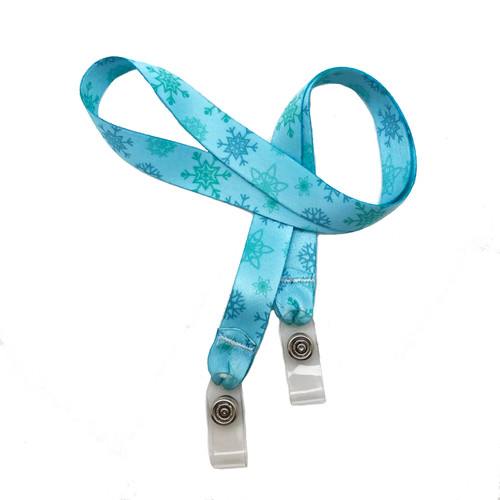 "24"" mask holder with soft plastic snap closures printed with our blue snowflake design printed on both sides on  5/8"" Ultra Lanyard material are perfect for children and adults for keeping track of face masks at school, sports practice, lunch and break time."