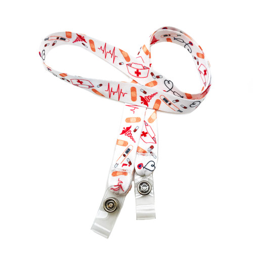 "24"" mask holder with soft plastic snap closures printed with our nurse/medical worker design printed on both sides on  5/8"" Ultra Lanyard material is  perfect for adults to keep track of face masks at  work, school, sports practice, lunch and break time."