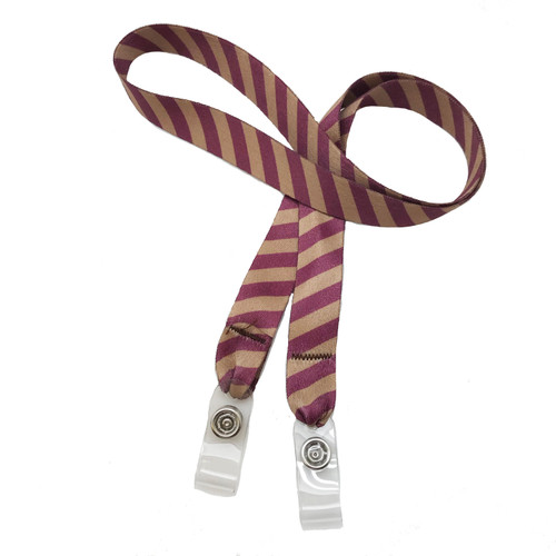 "24"" mask holder with soft plastic snap closures printed with our Harry Potter burgundy and gold stripe printed on both sides on  5/8"" Ultra Lanyard material is  perfect for adults to keep track of face masks at  work, school, sports practice, lunch and break time."