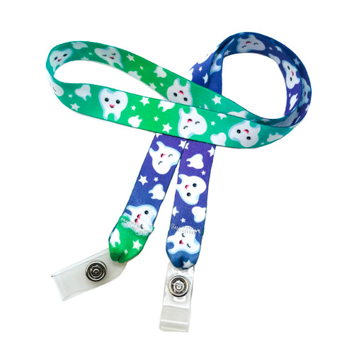 "24"" mask holder with soft plastic snap closures printed with our teeth design printed on both sides on  5/8"" Ultra Lanyard material is  perfect for adults to keep track of face masks at  work, school, sports practice, lunch and break time."