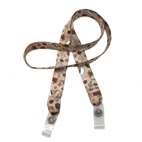 "24"" mask holder with soft plastic snap closures printed with our Coffee design printed on both sides on  5/8"" Ultra Lanyard material is  perfect for adults to keep track of face masks at  work, school, sports practice, lunch and break time."