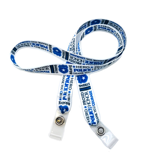 "24"" mask holder with soft plastic snap closures printed with our Police Officer word block design printed on both sides on  5/8"" Ultra Lanyard material is  perfect for adults to keep track of face masks at  work, school, sports practice, lunch and break time."